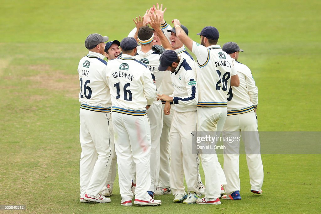 Yorkshire celebrate Jack Brooks LBW dismissal of Alviro Petersen of Lancashire during day two of the Specsavers County Championship: Division One match between Yorkshire and Lancashire at Headingley on May 30, 2016 in Leeds, England.