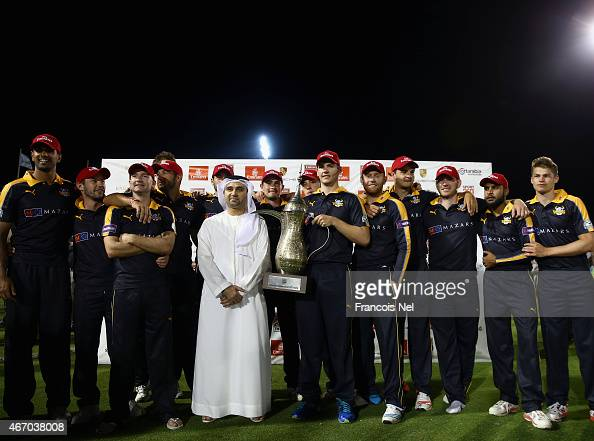 Yorkshire celebrates with the the trophy after winning the Emirates Airline T20 Cup final match between Sussex and Yorkshire at the Sevens Stadium on...