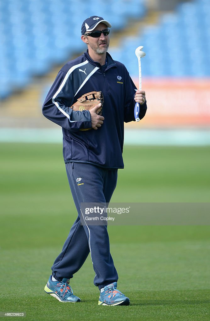 Yorkshire coach Jason Gillespie ahead of day four of the LV County Championship division One match between Yorkshire and Northamptonshire at Headingley on April 23, 2014 in Leeds, England.