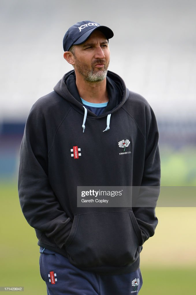 Yorkshire coach <a gi-track='captionPersonalityLinkClicked' href=/galleries/search?phrase=Jason+Gillespie&family=editorial&specificpeople=167160 ng-click='$event.stopPropagation()'>Jason Gillespie</a> during day four of the LV County Championship Division One match between Yorkshire and Surrey at Headingley on June 24, 2013 in Leeds, England.