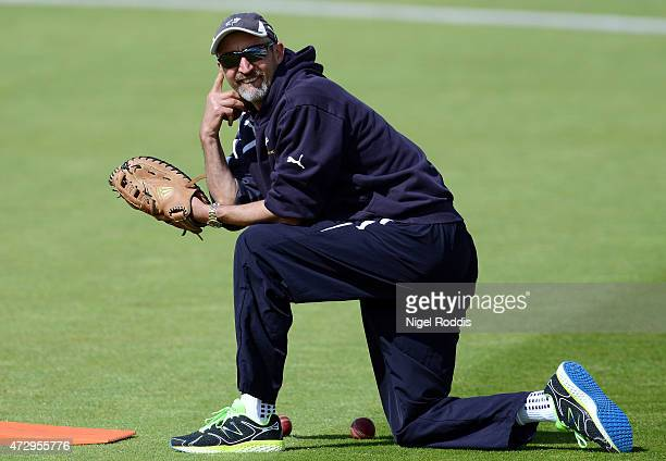 Yorkshire coach Jason Gillespie during day two of the LV County Championship Division One match between Yorkshire and Hampshire at Headingley at...