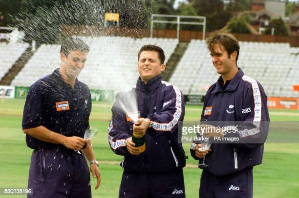 Yorkshire cricketers Gavin Hamilton Darren Gough and Michael Vaughan at Headingley celebrate after they were picked for the England squad to tour...