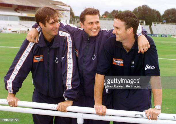 Yorkshire cricketers Michael Vaughan Darren Gough and Gavin Hamilton at Headingley celebrate after they were picked for the England squad to tour...