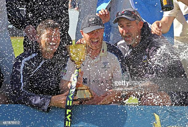 Yorkshire Director of Professional Cricket Martyn Moxen Club captain Andrew Gale and First Team Coach Jason Gillespie with the County Championship...