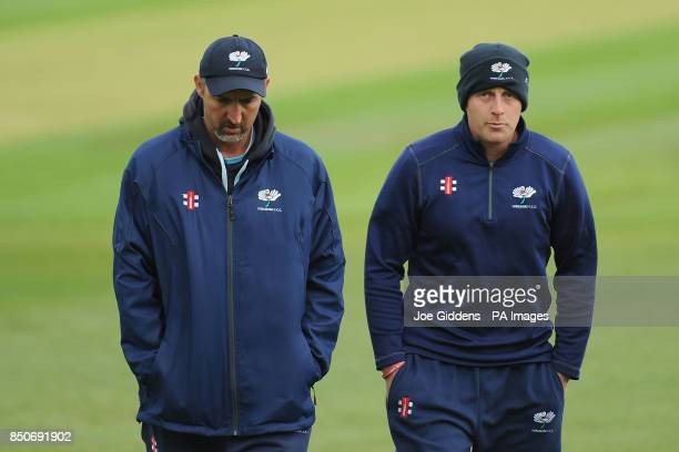 Yorkshire head coach Jason Gillespie and captain Andrew Gale before the LV County Championship Division One match at Edgbaston Birmingham PRESS...