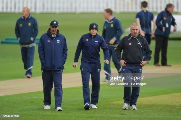 Yorkshire head coach Jason Gillespie captain Andrew Gale and Director of Cricket Development Ian Dews before the LV County Championship Division One...