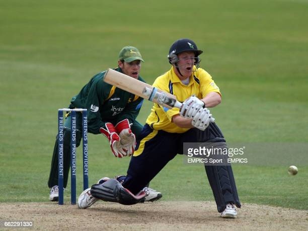 Yorkshire Phoenix's Andrew Gale who finished on 69 not out against the Nottinghamshire Outlaws' plays a reverse sweep shot Chris Read keeps wicket