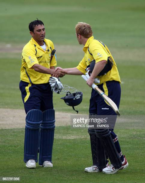Yorkshire Phoenix's Younis Khan and Andrew Gale congratulate each other as they leave the field against Nottinghamshire Outlaws