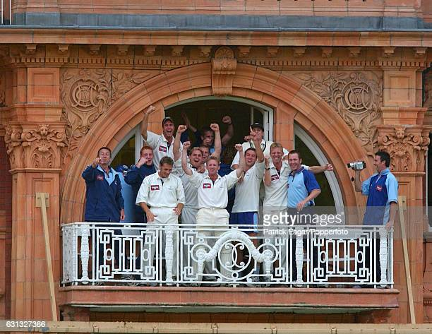 Yorkshire players and staff on the dressing room balcony celebrate winning the Cheltenham Gloucester Trophy Final between Somerset and Yorkshire at...