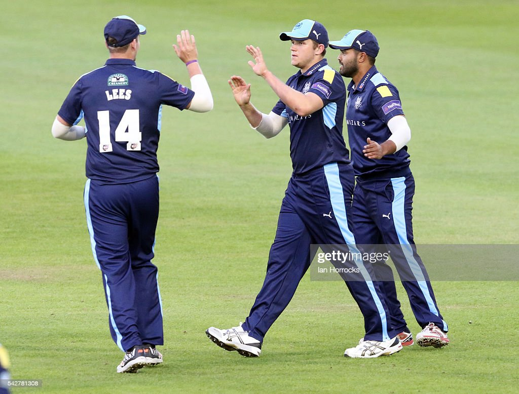 Yorkshire players celebrate the wicket of Phil Mustard of during The NatWest T20 Blast game between Durham Jets and Yorkshire Vikings at Emirates Durham ICG on June 24, 2016 in Chester-le-Street, England.
