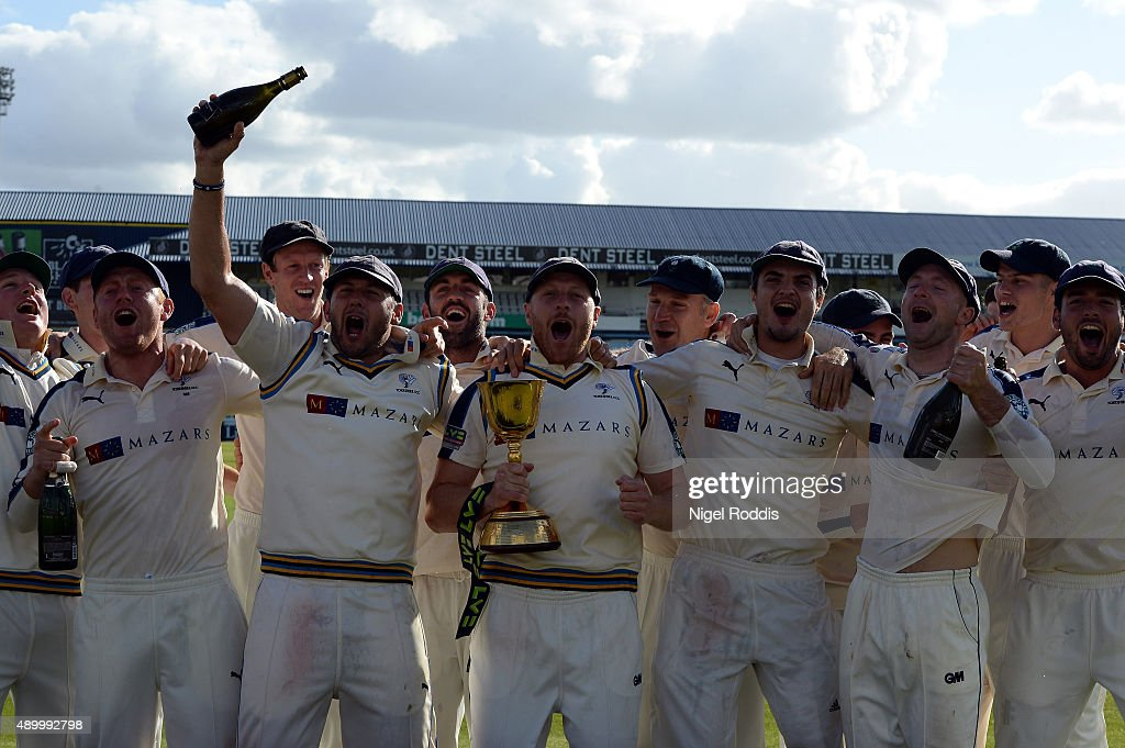 Yorkshire players react after recieving the championship trophy after their LV County Championship match between Yorkshire and Sussex at Headingley...