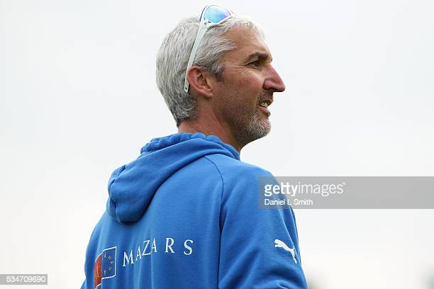 Yorkshire Viking Coach Jason Gillespie looks on during warm up prior to the NatWest T20 Blast match between Yorkshire and Leicestershire at...