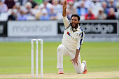 Yorkshire's Adil Rashid succesful appeal during day three of the LV County Championship division one match between Yorkshire and Worcestershire at...