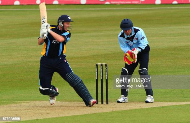Yorkshire's Andrew Gale cuts the ball away to the boundary