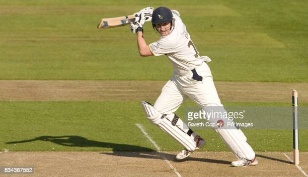 Yorkshire's Andrew Gale hits out during the LV County Championship Division One match at Headingley Carnegie Leeds