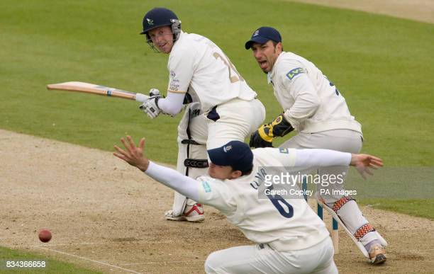 Yorkshire's Andrew Gale hits the ball past Hampshire's Michael Lumb during the LV County Championship Division One match at Headingley Carnegie Leeds