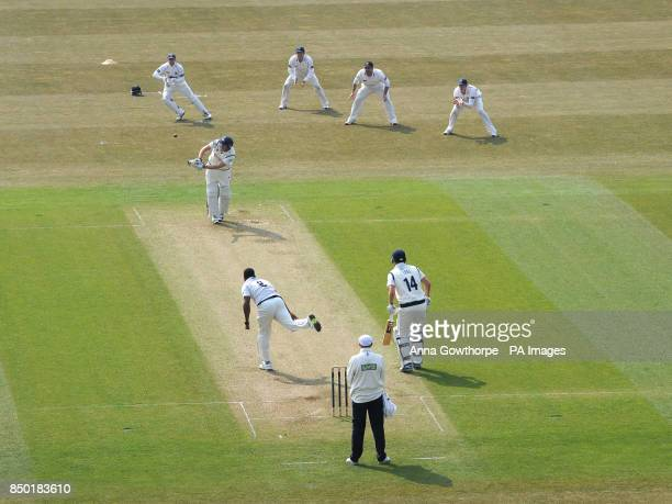 Yorkshire's Andrew Gale is caught behind by Sussex's Ben Brown during the LV=County Championship Division One match at Headingley Leeds