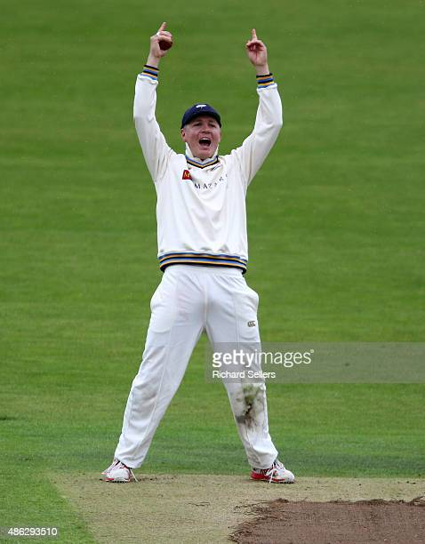 Yorkshire's Gary Ballance celebrates Somerset's last wicket during day three of the LV County Championship division one match between Yorkshire and...