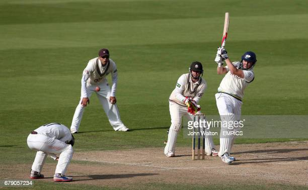 Yorkshire's Gary Ballance hits out on his way to a score of 108 not out