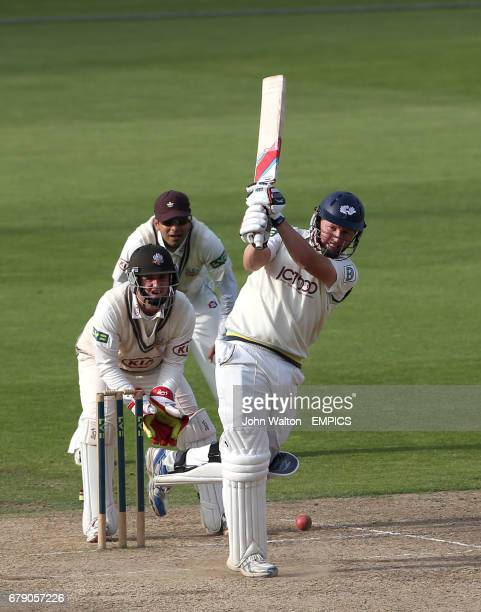 Yorkshire's Gary Ballance hits the ball on his way to a score of 108 not out