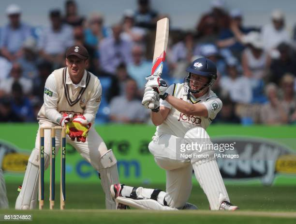 Yorkshire's Gary Ballance in batting action while Surrey's Steven Davies keeps wicket during day one of the LV County Championship match at...