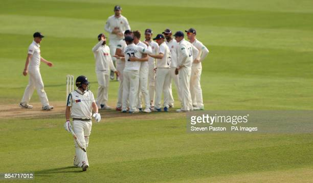 Yorkshire's Gary Ballance walks of the field after bowled for an LBW by Essex Sam Cook during day three of the Specsavers County Championship...