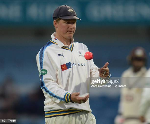 Yorkshire's Gary Ballance with the pink ball during the Specsavers County Championship Division One match at Headingley Leeds
