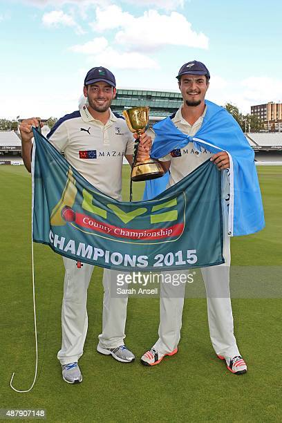 Yorkshire's Jack Leaning and Jack Brooks with the LV County Championship Trophy following the LV County Championship match between Middlesex and...