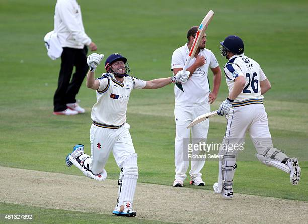 Yorkshire's Jonny Bairstow celebrates his 100 during day one of the LV County Championship division One match between Yorkshire and Worcestershire at...