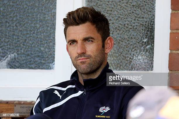Yorkshire's Liam Plunkett watches the play during day one of the LV County Championship division One match between Yorkshire and Worcestershire at...