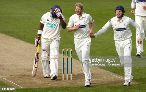 Yorkshire's Matthew Hoggard celebrates with Andrew Gale after dimissing Hampshire's Michael Carberry for 13 runs during the LV County Champonship...