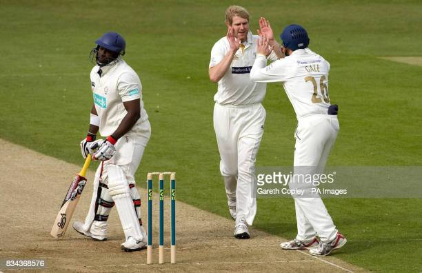Yorkshire's Matthew Hoggard celebrates with Andrew Gale after dimissing Hampshire's Michael Carberry during the LV County Champonship Division One...
