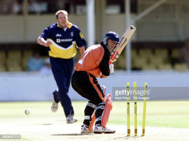 Yorkshire's Richard Blakey is clean bowled by Warwickshire's Alan Richardson during Norwich Union League Division One game at Edgbaston Birmingham