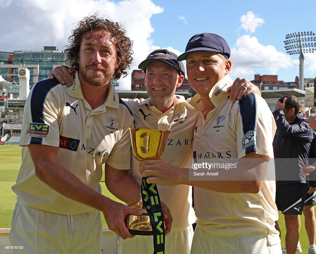 Yorkshire's Ryan Sidebottom Adam Lyth and Gary Ballance with the LV County Championship Trophy following the LV County Championship match between...