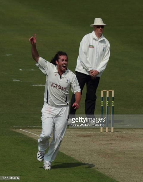 Yorkshire's Ryan Sidebottom celebrates the wicket of Nottinghamshire's Luke Fletcher for 4