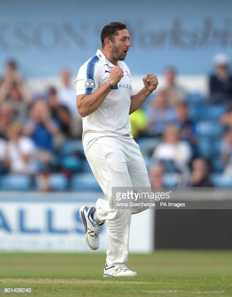 Yorkshire's Tim Bresnan celebrates after taking the wicket of Surrey's Rory Burns during the Specsavers County Championship Division One match at...