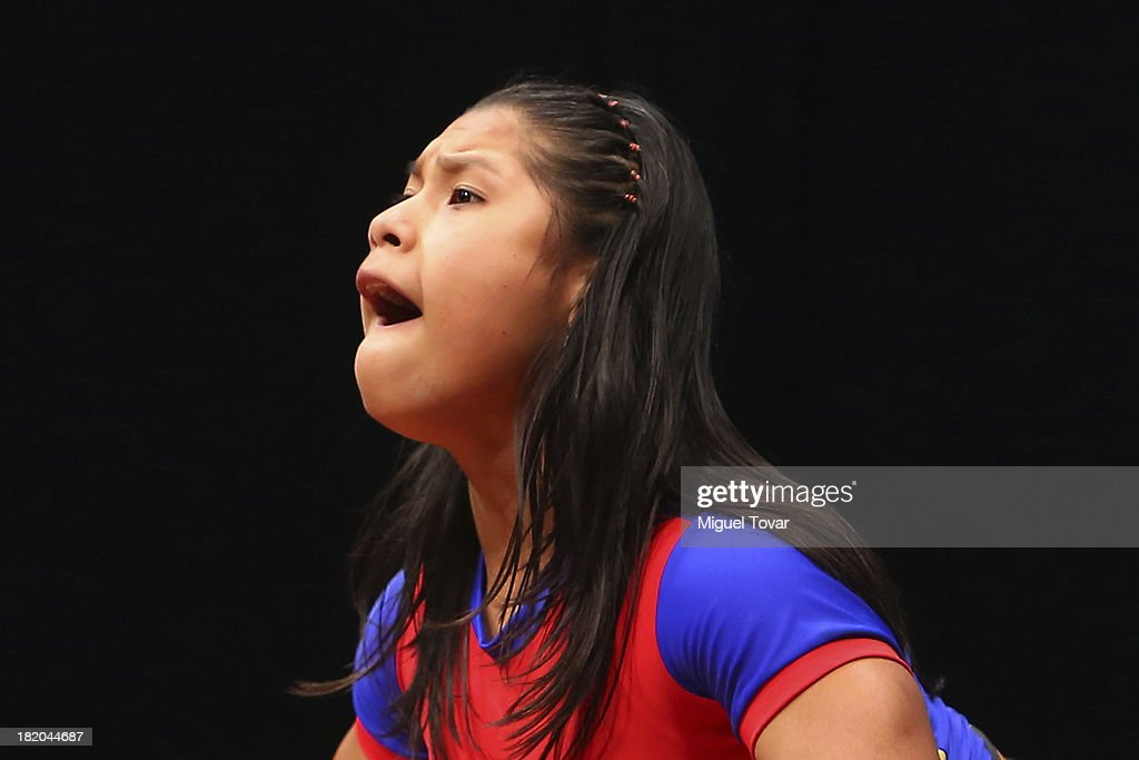 Yorlis Zabala of Venezuela competes in women's 53 kg as part of the I ODESUR South American Youth Games at Coliseo Miguel Grau on September 27, 2013 in Lima, Peru.