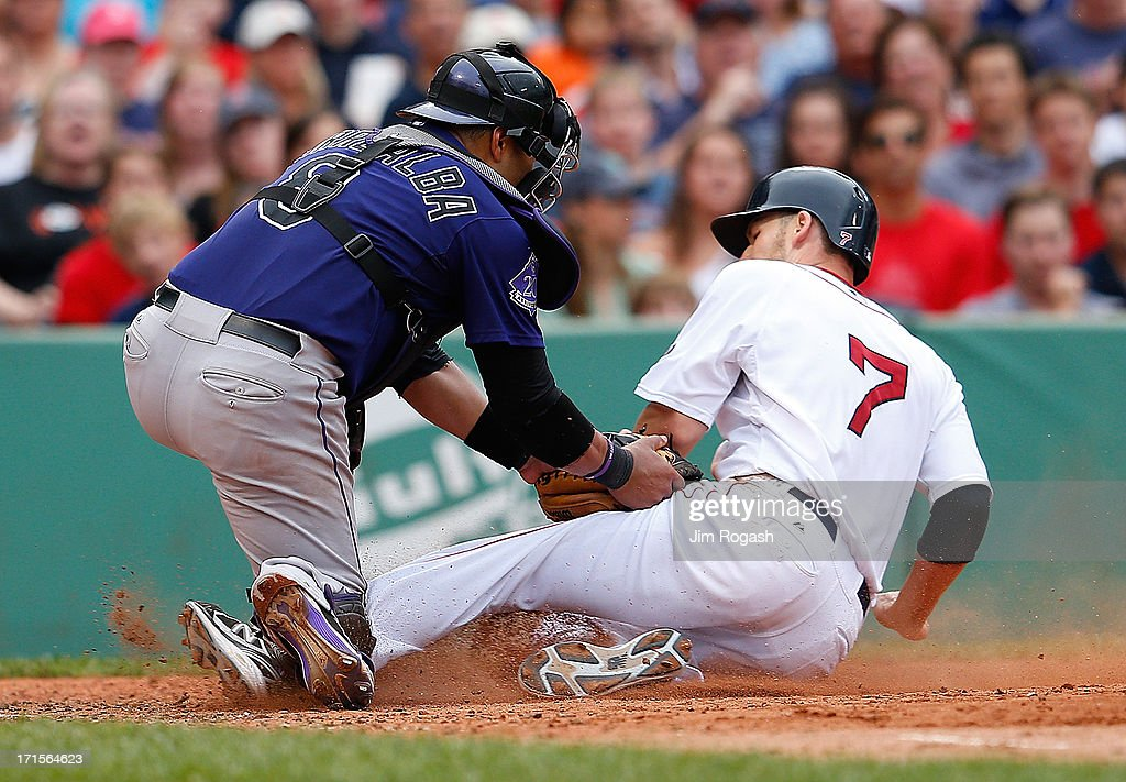Yorvit Torrealba #8 of the Colorado Rockies tags out Stephen Drew #7 of the Boston Red Sox at the plate in the 6th inning at Fenway Park on June 26, 2013 in Boston, Massachusetts.