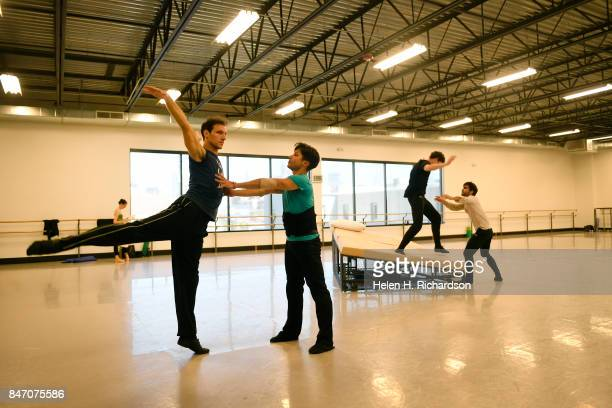 DENVER CO SEPTEMBER 12 Yosavni Ramos second from left and fellow dancer Domenico Luciano left rehearse for the upcoming production of Dracula at...