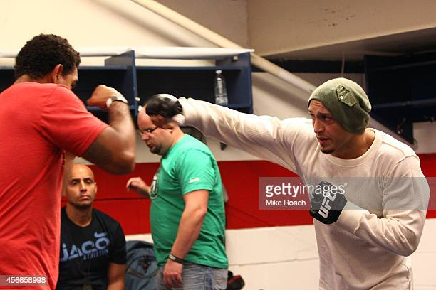 Yosdenis Cedeno of Cuba warms up backstage during the UFC Fight Night event at the Scotiabank Centre on October 4 2014 in Halifax Nova Scotia Canada