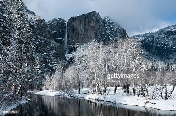 Yosemite Falls and Merced River Landscape in Winter Snow