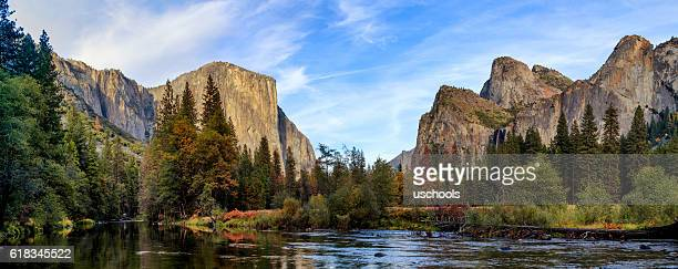 Yosemite Merced River el Capitan and Half Dome Panorama