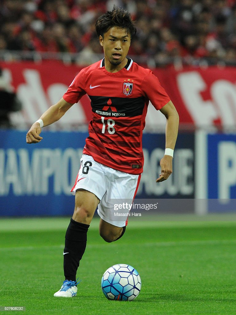 Yoshiaki Komai #18 of Urawa Red Diamonds in action during the AFC Champions League Group H match between Urawa Red Diamonds and Pohang Steelers at the Saitama Stadium on May 3, 2016 in Saitama, Japan.