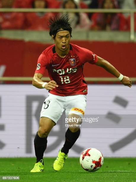 Yoshiaki Komai of Urawa Red Diamonds in action during the JLeague J1 match between Urawa Red Diamonds and Jubilo Iwata at Saitama Stadium on June 18...