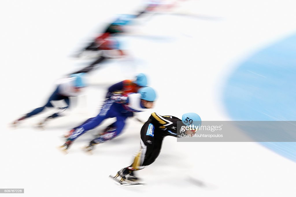 Yoshiaki Oguro of Japan competes in the mens 1500m Heat during ISU Short Track Speed Skating World Cup held at The Sportboulevard on February 12, 2016 in Dordrecht, Netherlands.