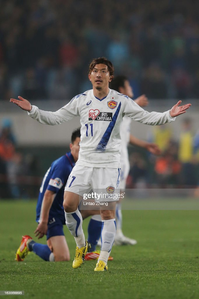 Yoshiaki Ohta of Vegalta Sendai reacts during the AFC Champions League match between Jiangsu Sainty and Vegalta Sendai at Nanjing Olympic Sports Center Stadium on March 12, 2013 in Nanjing, China.