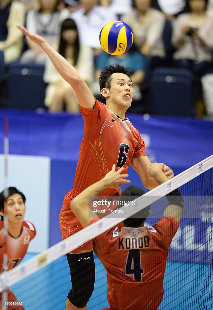 Yoshifumi Suzuki of Japan in action during the FIVB World League Pool C match between Japan and Finland at Park Arena Komaki on June 15, 2013 in Komaki, Japan.