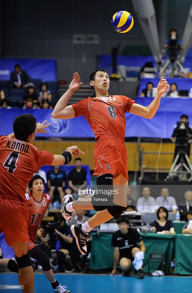 Yoshifumi Suzuki of Japan spikes a ball during the FIVB World League Pool C match between Japan and Finland at Park Arena Komaki on June 15, 2013 in Komaki, Japan.