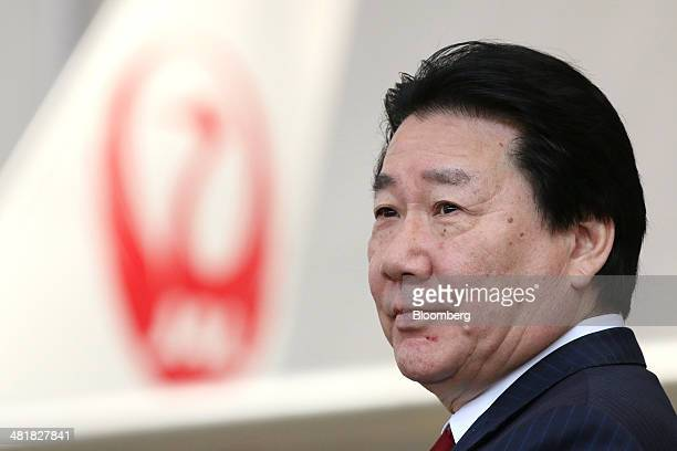 Yoshiharu Ueki president of Japan Airlines Co attends a welcoming ceremony at the company's hangar near Haneda Airport in Tokyo Japan on Tuesday...
