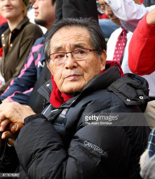 Yoshiharu Yamaguchi watches the 97th National High School Rugby Tournament Kyoto Prefecture Qualifier Final between Kyoto Seisho and Fushimi Kogyo at...